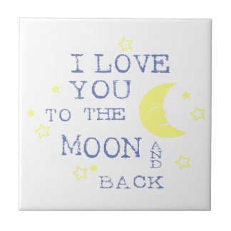 I Love You to the Moon and Back Quote - Blue Small Square Tile