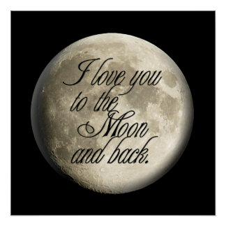 I Love You to the Moon and Back Realistic Lunar Poster