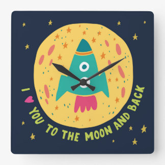 I Love You To The Moon And Back Rocketship Wall Clock