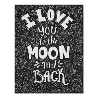 I Love You to the Moon and Back Rustic Chalkboard Poster