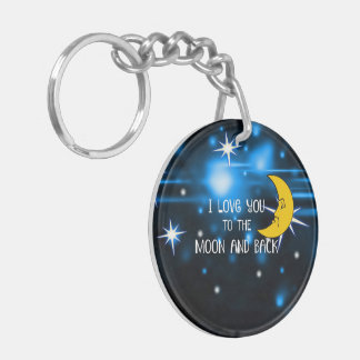 I Love You to the Moon and Back--Starry Sky Double-Sided Round Acrylic Key Ring