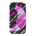 I love you to the moon and back typography Case-Mate iPhone 4 cases