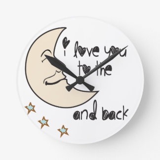 I love you to the moon and back whimsical round clock