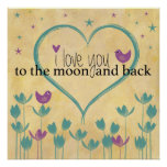 I Love You to the Moon and Back Word Art Print