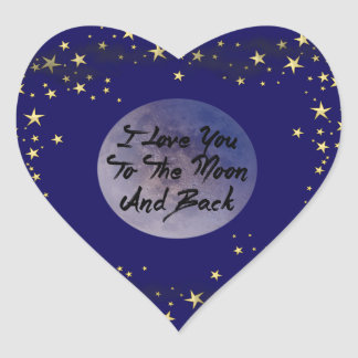 I Love You To The Moon & Back Heart Sticker