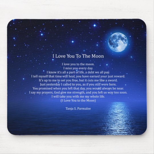 I Love You To The Moon Poetry Collector Mouse Mat