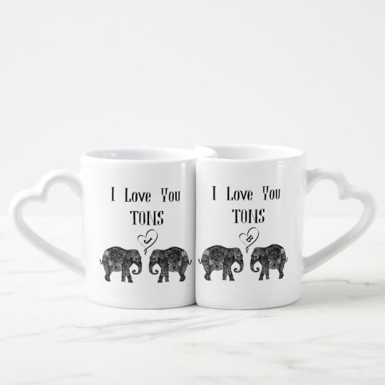 I LOVE YOU TONS/Elephant Art/Wedding Personalised Coffee Mug