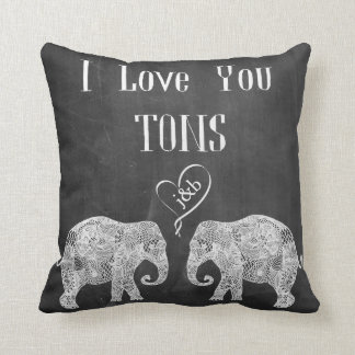I LOVE YOU TONS/Elephant Art/Wedding Personalized Throw Pillow
