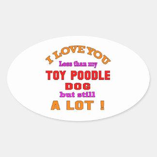 I love you Toy poodle Dog Oval Sticker