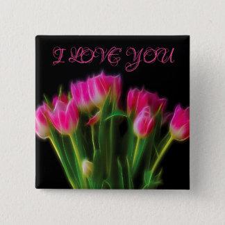 I Love You Tulip Button
