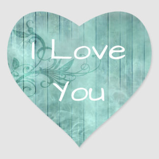 I Love You Turquoise Rustic Wood Stickers