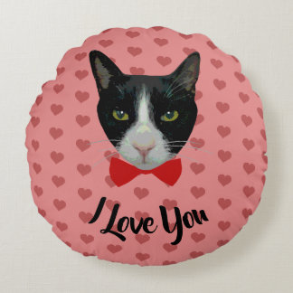 I Love You - Tuxedo Cat with Bow Tie Round Cushion