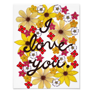 I Love You Typography With Yellow Flowers Photo Print