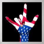 I Love You USA Flag Poster