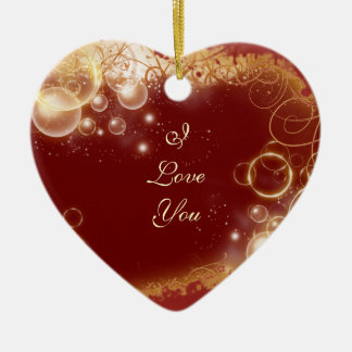 """I love you""  valentine red heart gift Ceramic Heart Decoration"