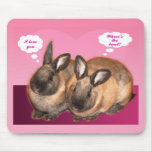I love you valentine two bunny rabbits mousepad
