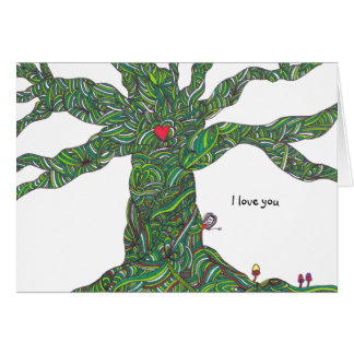 I love you - Valentine's card with tree