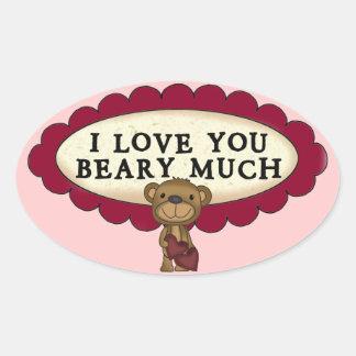 I Love You Very Much Bear Hearts Designer Sticker