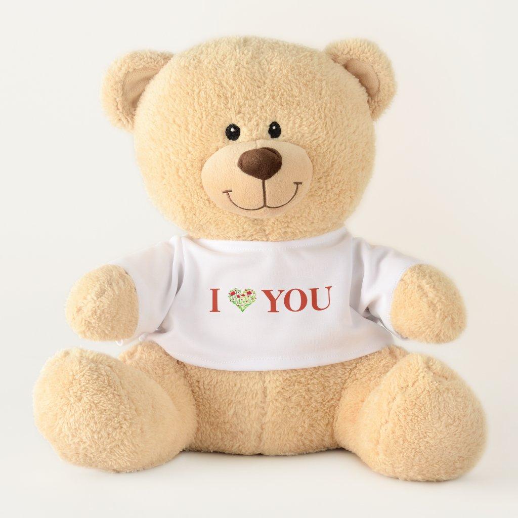 I love you! Watercolour Floral Heart Teddy Bear