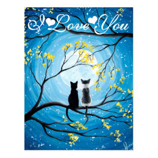 I Love You Whimsical Moon with Cats Postcard