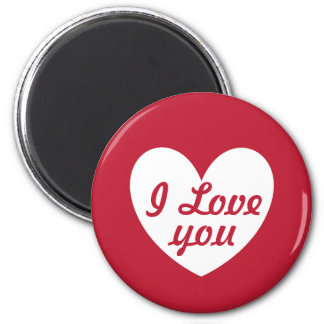 """I love you"" White heart on red Magnet"
