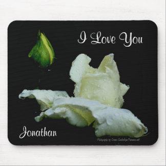 I Love You White Rosebud Personalized Mousepad