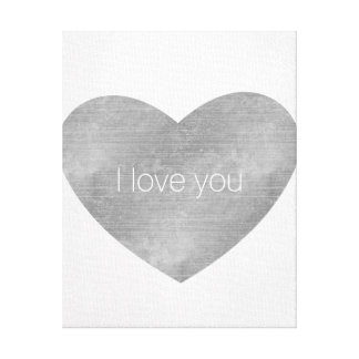 I love you White with Silver Heart Canvas Print
