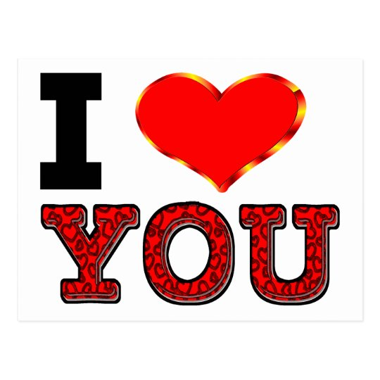 I Love You with 3D Heart Postcard