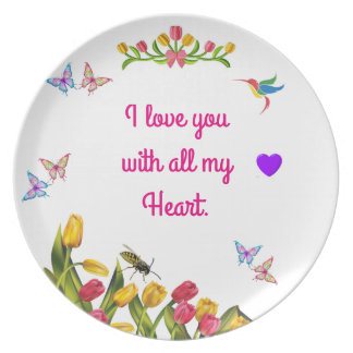 I love you with all my heart plate
