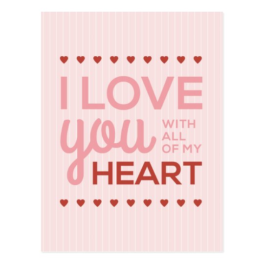 I Love You with All My Heart Postcard