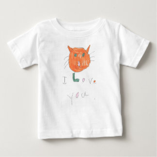 i love you with cat drawing for kids baby T-Shirt