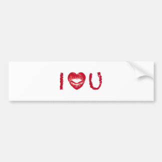 I love you with red heart lips bumper sticker