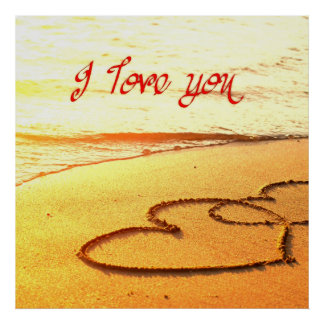 I love you, written in heart in the sand on beach posters