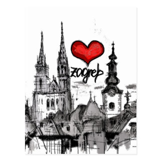 i love Zagreb Postcard