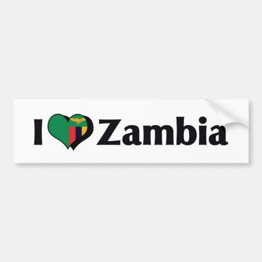I Love Zambia Flag Bumper Sticker