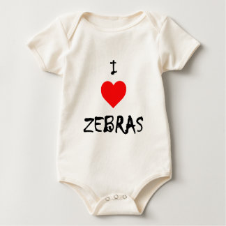 I Love Zebras Baby Bodysuit
