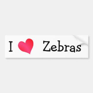 I Love Zebras Bumper Sticker