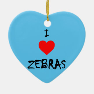 I Love Zebras Christmas Ornament