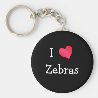 I Love Zebras Key Ring