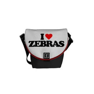 I LOVE ZEBRAS MESSENGER BAG