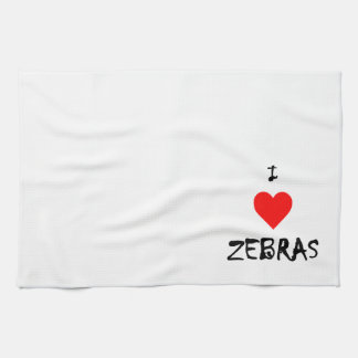 I Love Zebras Tea Towel