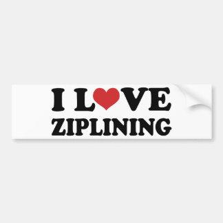 I Love Ziplining Car Bumper Sticker