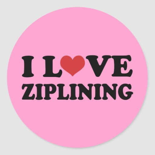 I Love Ziplining Round Stickers