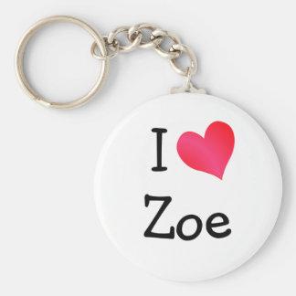 I Love Zoe Basic Round Button Key Ring