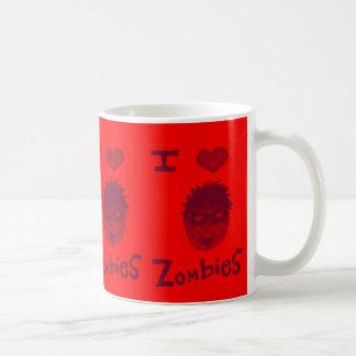 i love zombies basic white mug