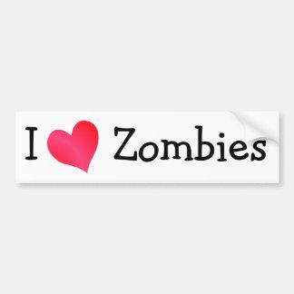 I Love Zombies Bumper Sticker