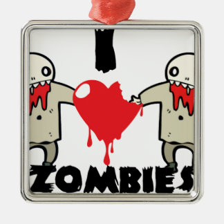 i love zombies character design with heart christmas ornament
