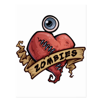 i love zombies eye and heart design postcard