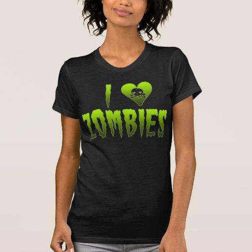 I Love Zombies Skull Halloween T Shirts