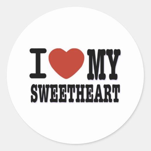 I LOVEMY SWEETHEART ROUND STICKERS